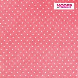 Tissu coton popeline Color Pois - Corail x 10cm