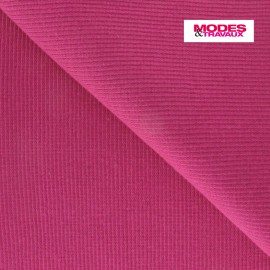 Knitted Jersey 1/2 tubular edging fabric x 10 cm - fuchsia