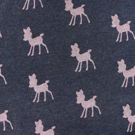 Tissu Oeko-Tex Sweat Poppy Bambi Glitter - bleu nuit / rose x 10cm