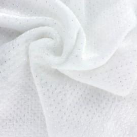 Tissu Doudou Point d'argent - blanc x 10cm