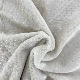 Tissu Doudou Point d'argent - beige x 10cm