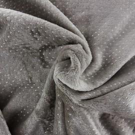 Tissu Doudou Point d'argent - taupe x 10cm