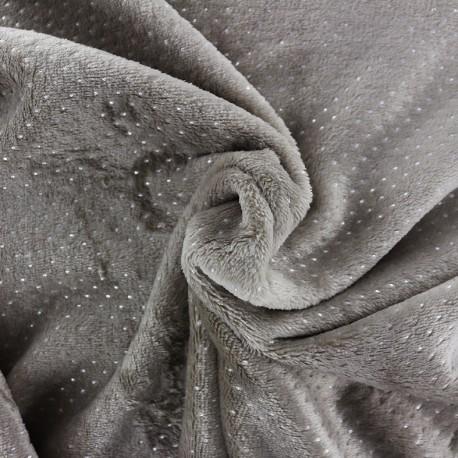 Tissu Oeko-Tex Doudou Point d'argent - taupe x 10cm