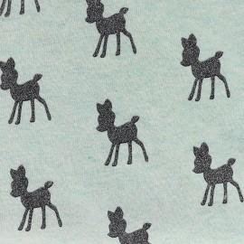 Tissu Oeko-Tex Sweat Poppy Bambi Glitter - menthe et gris anthracite x 10cm