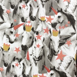 Tissu Sweat Poppy envers molleton Unicorns are stars - rose x 10cm