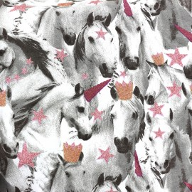Poppy Sweat fabric Unicorns are stars - fuchsia x 10cm