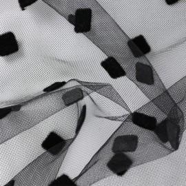 Flocked velvet Beauty square Tulle - black x 10cm