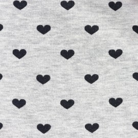 Tissu Sweat Love - chiné / noir x 10cm