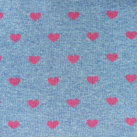 Tissu Sweat Love - chiné / rose x 10cm