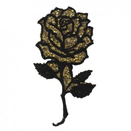 Thermocollant Shiny rose flower - noir/or