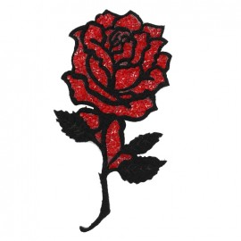 Thermocollant Shiny rose flower - noir/rouge