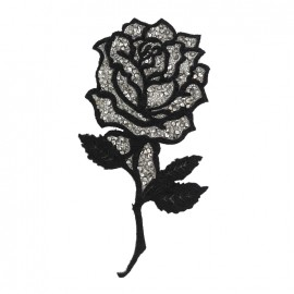 Thermocollant Shiny rose flower - noir/argent