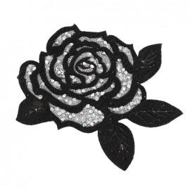 Thermocollant Rose pailletée - noir/argent