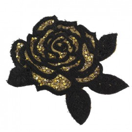 Thermocollant Rose pailletée - noir/doré