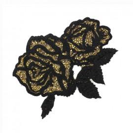 Thermocollant Roses pailletées - noir/doré