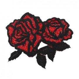 Thermocollant La folie des roses pailletées - noir/rouge