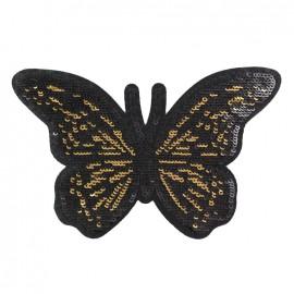 Thermocollant Des papillons en pagaille - noir/doré