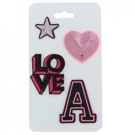 Iron on patches Love (batch of 4) - pink