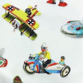 Tissu toile de coton Christmas playground - jouets  x 72cm