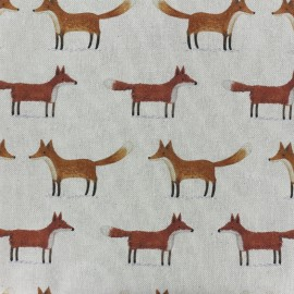 Tissu toile de coton Christmas woodland - renard x 10cm