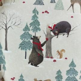 Tissu toile de coton Christmas woodland - forêt x 20cm