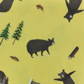 Tissu popeline Woodland Bear - jaune x 30cm