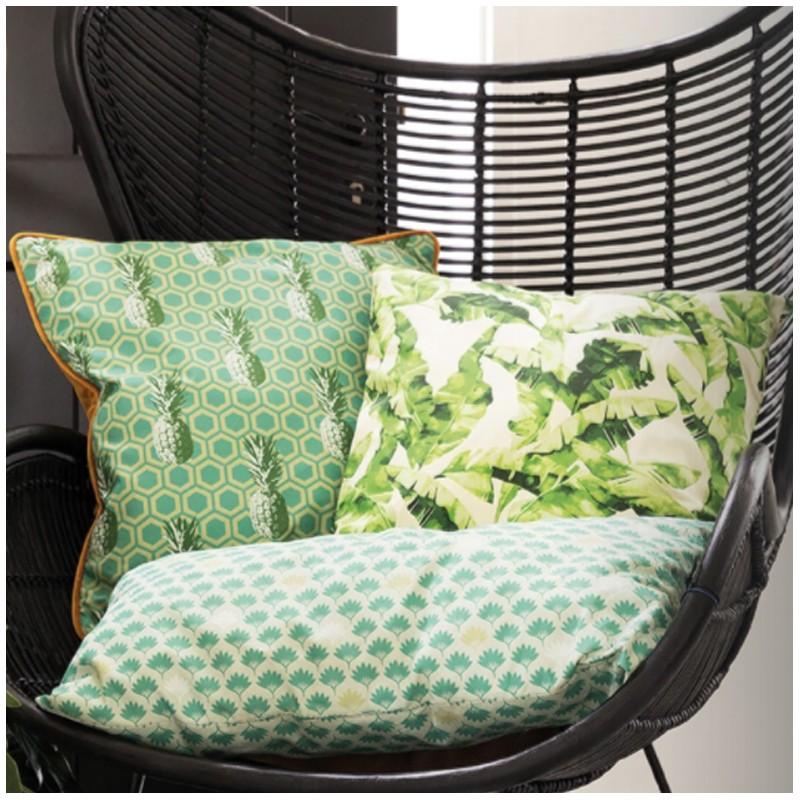 tissu toile de coton pineapple party vert x 10cm. Black Bedroom Furniture Sets. Home Design Ideas