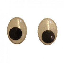 Oval-shaped eyes to glue (a pair) - black/white