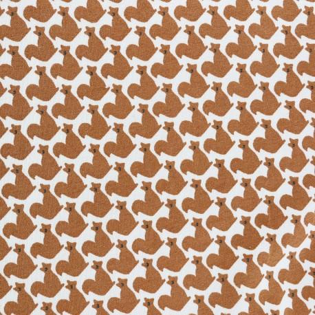 Tissu Jersey Le petit rongeur - blanc x 10cm