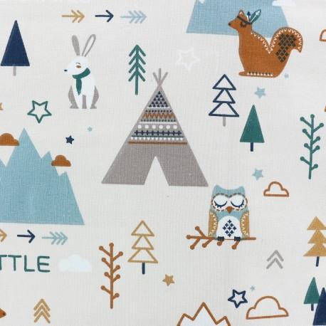 Tissu Jersey Little adventures - blanc x 30cm