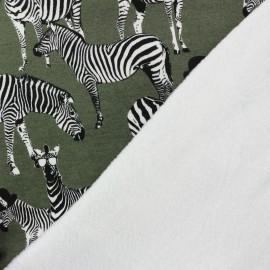 Tissu sweat envers minkee A zebra's life - vert x 29cm