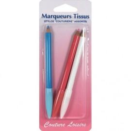 Crayon à marquer le tissu par 3 (rose/blanc/bleu) - Couture loisirs