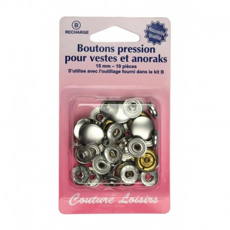 Boutons pressions 15 mm  col. Nickel - Couture loisirs