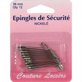 Epingles de sécurité nickelées n°2 X12 - 38 mm - Couture loisirs