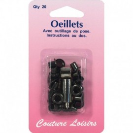 Eyelets with tooling color black X 20 - sewing hobbies