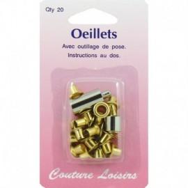 Oeillets 5 mm avec outillage couleur laiton X20 - Couture loisirs