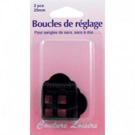 Boucles de réglage 25 mm x 2  pour sangle col.noir - Couture loisirs