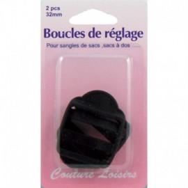 Boucles de réglage 32 mm x 2  pour sangle col.noir - Couture loisirs