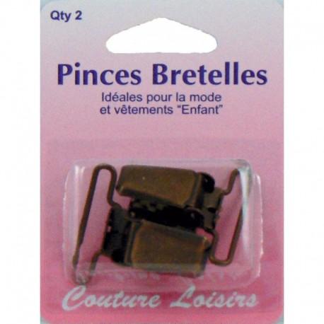 Pinces pour bretelles couleur bronze X2 - Couture loisirs