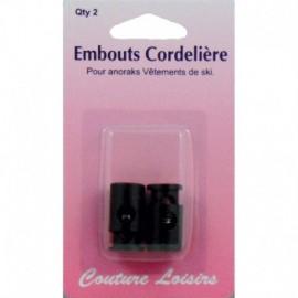 Embouts noirs de cordelière anorak X2 - Couture loisirs