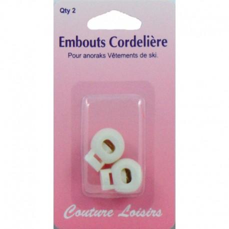 Embouts blancs de cordelière anorak X2 - Couture loisirs