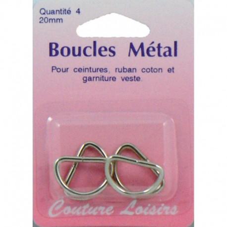 Loops metal shape D 20 mm X 4 - sewing hobbies