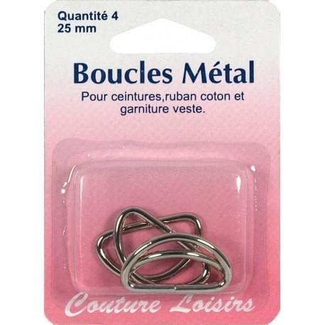 Loops metal shape D 25 mm X 4 - sewing hobbies
