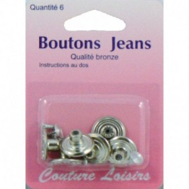Buttons X 6 - sewing hobbies nickel color jeans