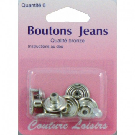 Boutons jeans couleur nickelé X6 - Couture loisirs