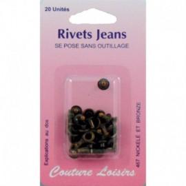 Rivets jeans couleur bronze X20 - Couture loisirs