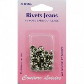 Rivets jeans couleur nickelée X20 - Couture loisirs