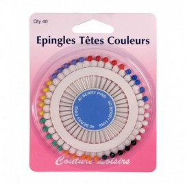 Epingles têtes couleurs X40 -34 mm x 0.62 mm - Couture loisirs