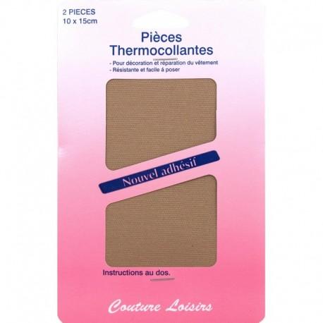 Pièces coton thermocollantes couleur fauve X2 - Couture loisirs