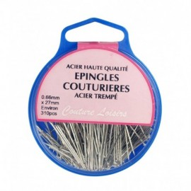 Epingles couture nickelées ±310 pcs 25g- 27x0.6mm  - Couture loisirs